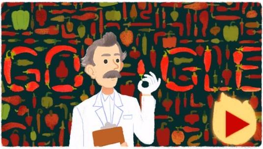 Google 味覚テストを考案したアメリカ出身の薬剤師ウィルバー・スコヴィル生誕151周年記念でミニゲームロゴに!