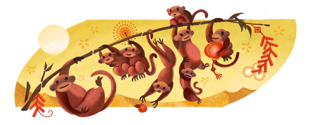 Google 2016年の旧正月で猿のイラストロゴに!