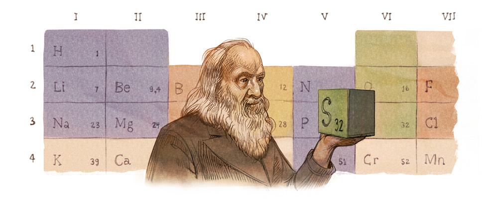 Google 元素周期表を作ったドミトリ・メンデレーエフ生誕182周年記念ロゴに!