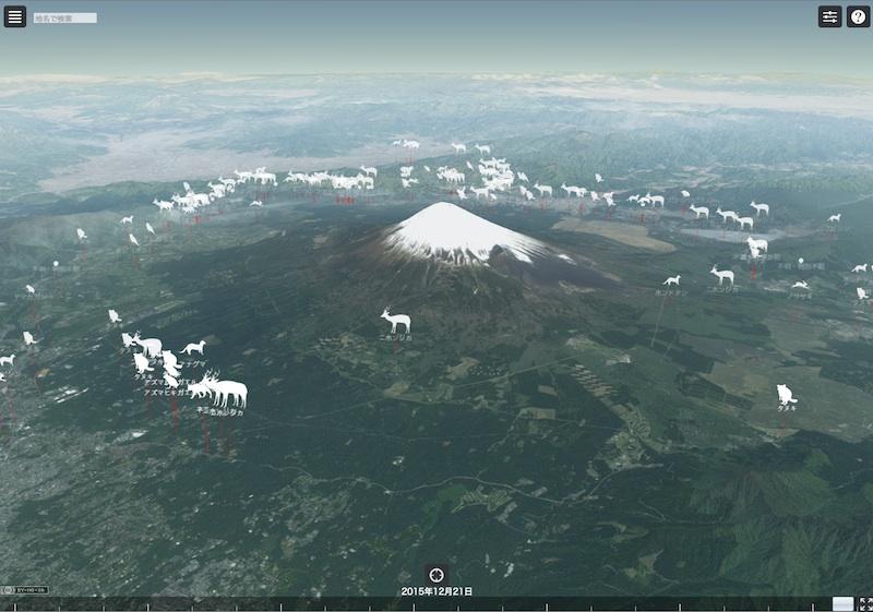 富士山動物交通事故死マップ