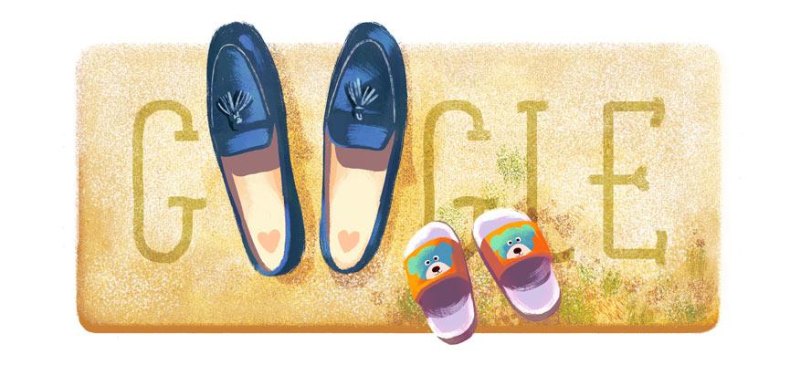 Google 母の日で母子の靴が並ぶイラストロゴに!