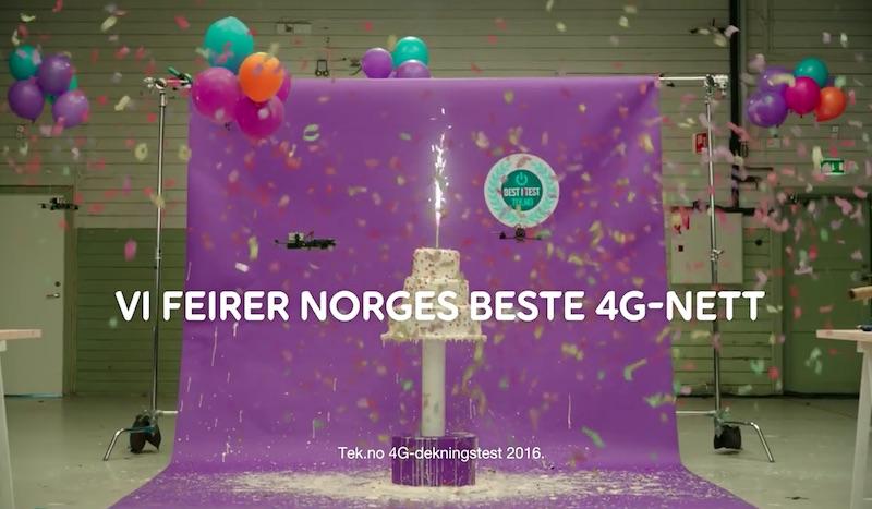 Droner lager kake for Telia