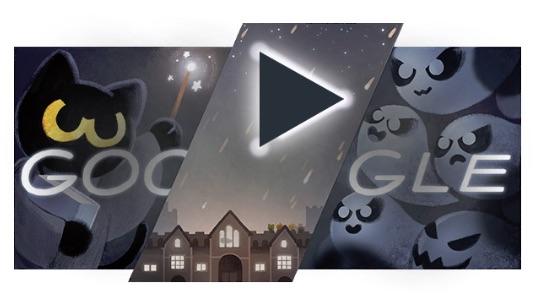 Google ハロウィンに合わせておばけ退治ゲームロゴに!