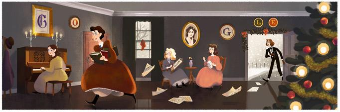 Google 若草物語の作者ルイーザ・メイ・オルコット生誕184周年記念ロゴに!