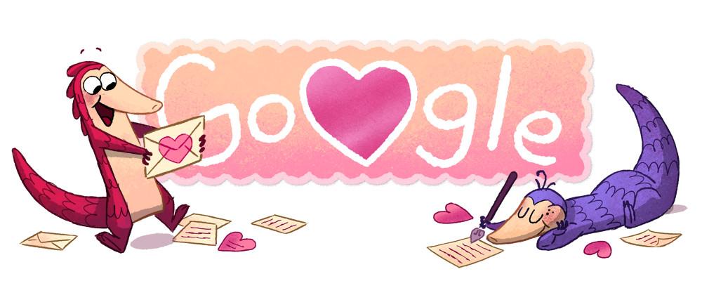 Google バレンタインデーに合わせてセンザンコウが転がるミニゲームロゴに!