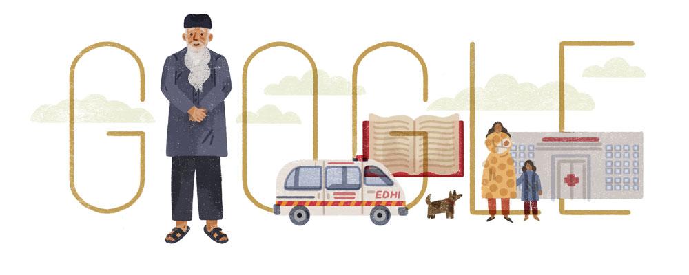 Google インド出身の慈善活動家アブドゥル・サッタール・エディ生誕89周年記念ロゴに!