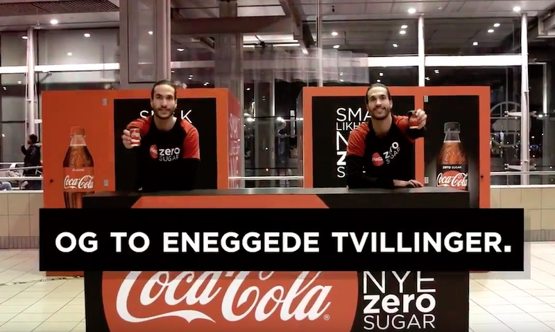 Coca-Cola Zero Sugar OOH prank at Oslo S