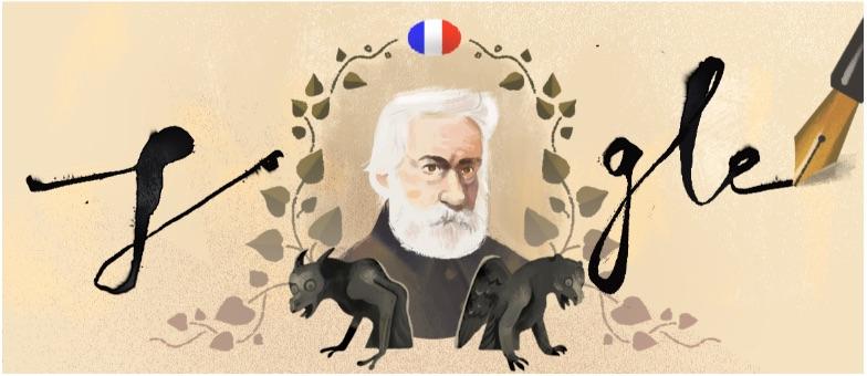 Google 小説「レ・ミゼラブル」最終章出版から155年を記念して、ヴィクトル・ユーゴーを称えるロゴに!