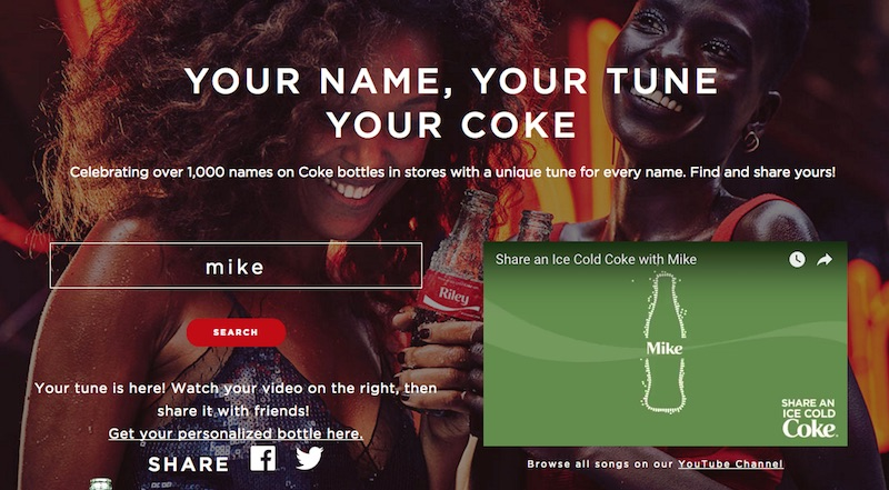 YOUR NAME, YOUR TUNE YOUR COKE