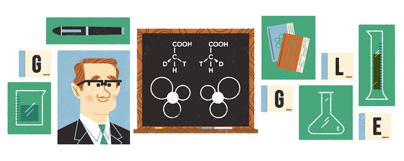 Google サー・ジョン・コーンフォース生誕100周年記念ロゴに!