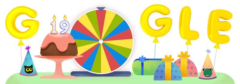 Google 創立19周年で、遊べるルーレット出現!