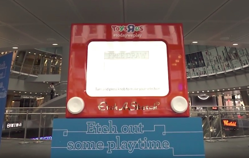 ToysRUs Etch a Sketch in Fulton Center NYC