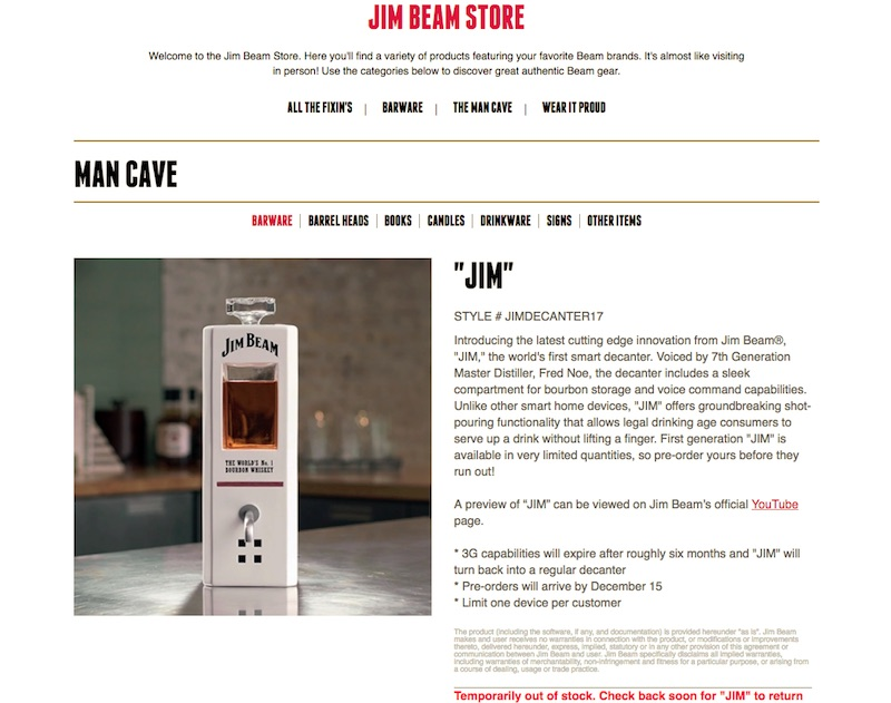 JIM, The World's First Intelligent Bourbon Decanter