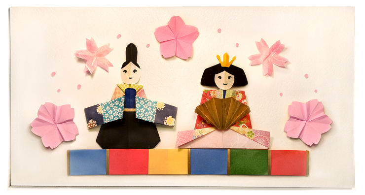 Google 3月3日は桃の節句。折り紙で折られたひな人形のロゴに!