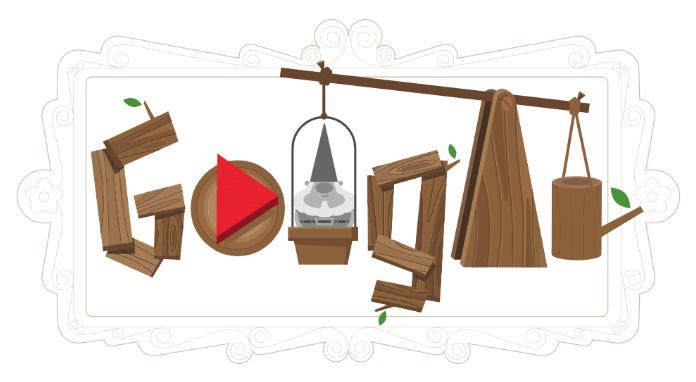 Google ガーデンノームを称えた、投石機ゲームロゴに!
