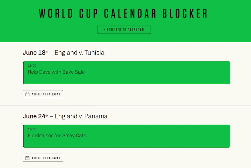 WORLD CUP CALENDAR BLOCKER