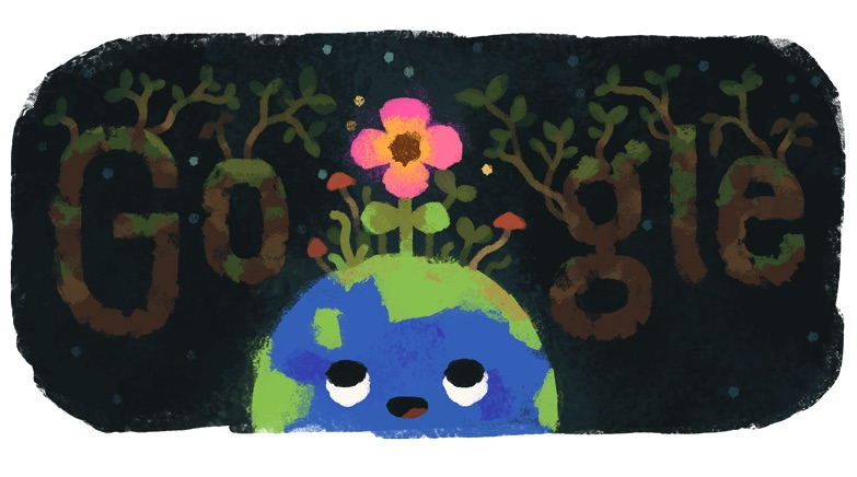 Google 北半球では春分の日、南半球では秋分の日ロゴに!
