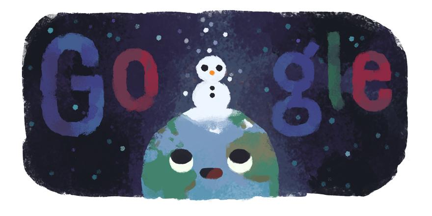 Google 北半球では2019年冬至ロゴに、南半球では2019年夏至ロゴに!