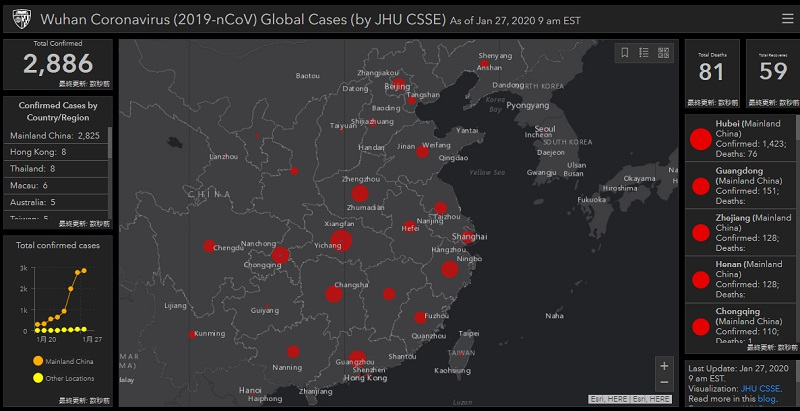 Wuhan Coronavirus (2019-nCoV) Global Cases (by JHU CSSE)