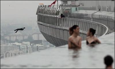 Marina Bay Sands Skypark BASE Jump. Singapore 2012.