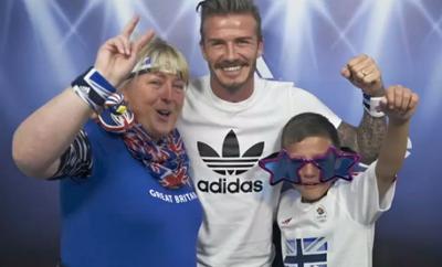 adidas   David Beckham pops up at the takethestage photobooth