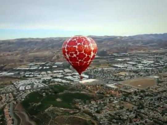 Marimekko hot-air balloon flying above Los Angeles