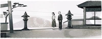 Google 映画監督の小津安二郎生誕110周年を記念して、映画「東京物語」の一場面がロゴに!