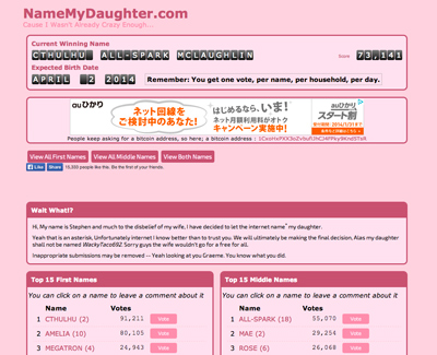 NameMyDaughter.com - What else is a geek dad to do...