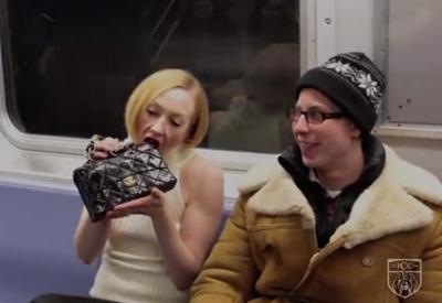Model Eats Designer Bag on NYC Subway