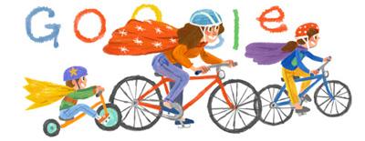 Google ハッピー母の日!ママとサイクリングロゴに!