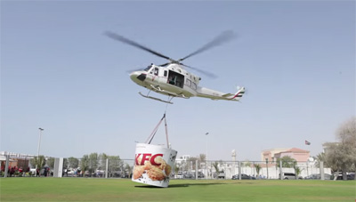 KFC delivers by helicopter in Dubai