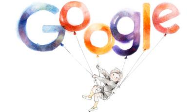 Google いわさきちひろさん生誕97周年で風船とまい上がる少年のロゴに!