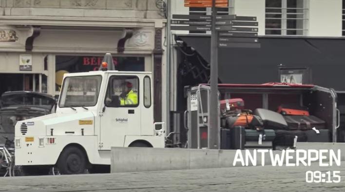 Bagagewagen Schiphol verdwaalt in Antwerpen