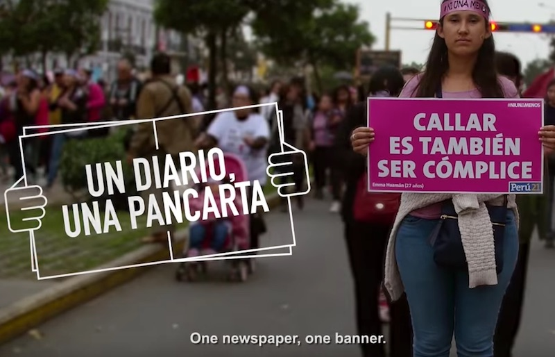 Peru 21 front page a protest sign to defend women