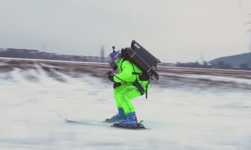 Jetpack Skiing! Filip Flisar Charges Through Town at 120kph