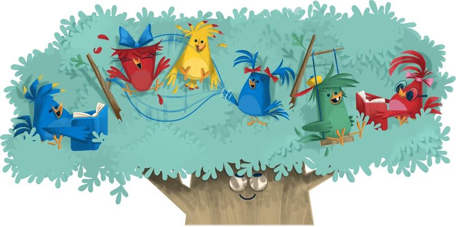 Google こどもの日を記念し、鳥が遊ぶロゴに!
