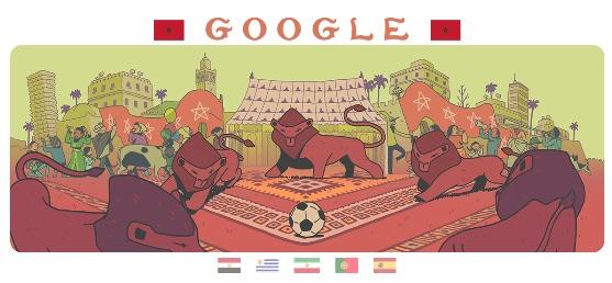 Google 2018年ワールドカップ - 2 日目ロゴに!