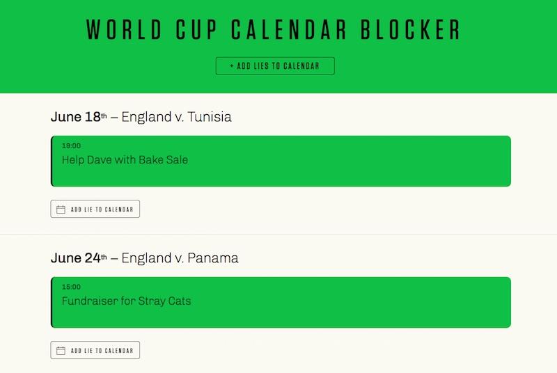 WORLD CUP CALENDAR BLOCKER