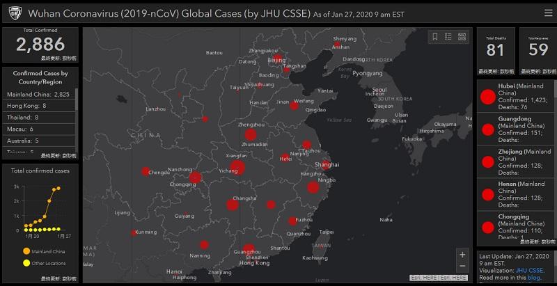 Wuhan Coronavirus (2019-nCoV) Global Cases (by JHU CSSE)