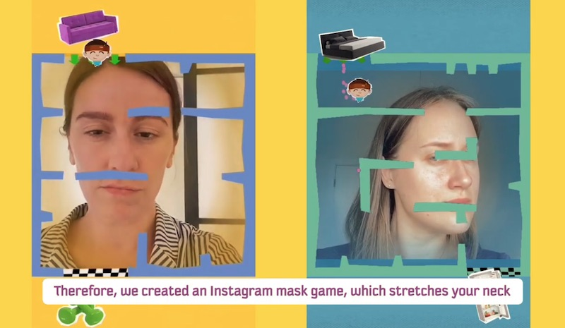 Instagram mask game stretches your neck